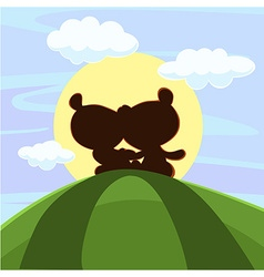 Cute teddy bear sitting in sunset vector