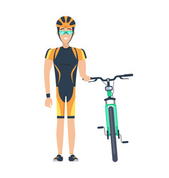 Cyclist standing by bicycle vector