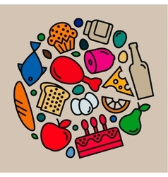 delicious food icons quality flat style logo vector image