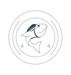 fishing emblem icon vector image