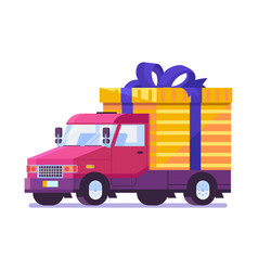flat delivery car with gift box package vector image