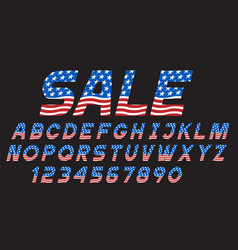 font with usa flag alphabet lettersnumbers vector image