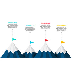Four mountains infographic template 4 steps vector