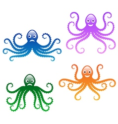 Fun octopus set vector