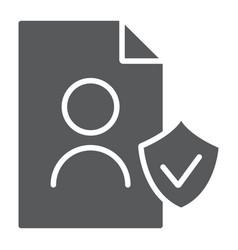 gdpr personall data glyph icon private and gdpr vector image
