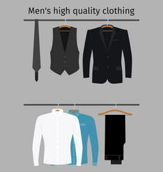 gentleman clothes set on a hanger vector image