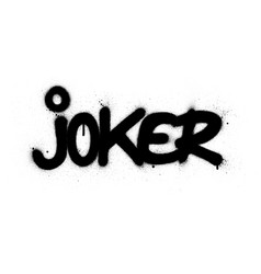 graffiti joker word sprayed in black over white vector image