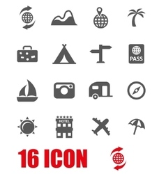 grey travel icon set vector image