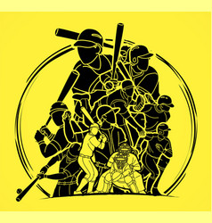 group baseball players action cartoon sport vector image