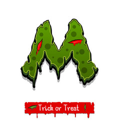 Halloween green color comic horror zombie font vector