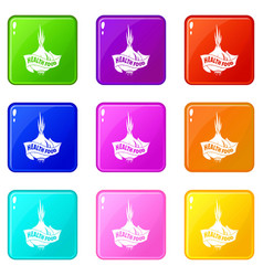 health eco food icons set 9 color collection vector image