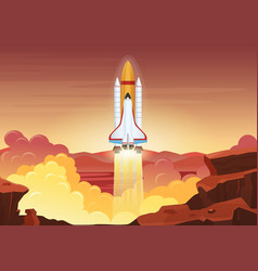 Heavy rocket launch flat vector