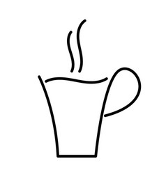 Hot coffee cup outline drawing vector