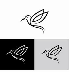 Hummingbird line logo icon designs vector
