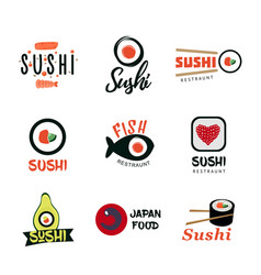japanese food logos set vector image