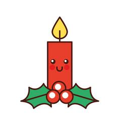 Kawaii christmas candle funny cartoon celebration vector