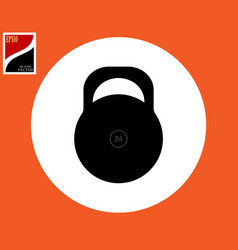 kettlebell icon in a white circle vector image