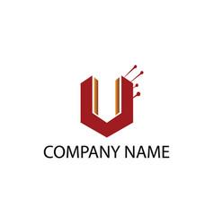 letter u logo simple modern building design vector image