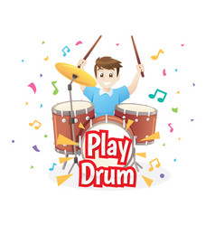 Little boy playing drums vector