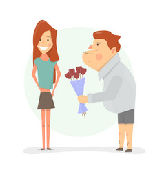 man gives his girlfriend flowers cartoon vector image