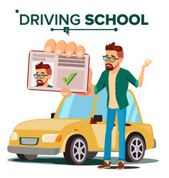 man in driving school training car vector image