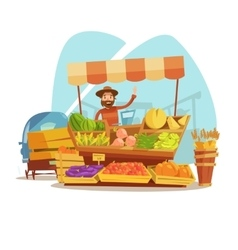 Market Cartoon Concept vector