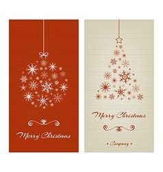Marry Christmas cards with ball and tree from vector image