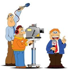 Media interview cartoon vector