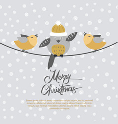 Merry christmas card with birds on black rope vector