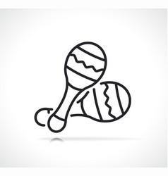 mexican traditional maracas line icon vector image