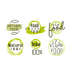 natural organic food green labels templates set vector image