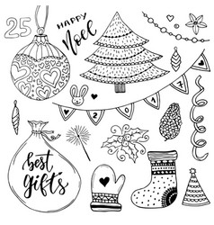New year collection of decorations christmas vector