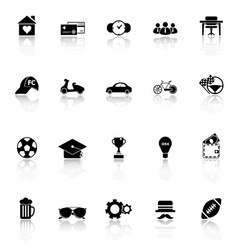 Normal gentleman icons with reflect on white vector