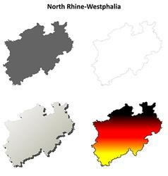North Rhine-Westphalia blank outline map set vector