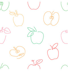 One line art style apple seamless pattern vector