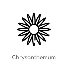 Outline chrysanthemum icon isolated black simple vector
