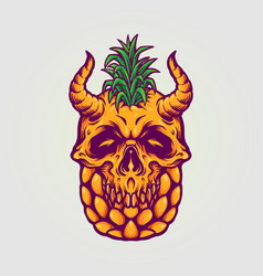 pineapple skull summer vector image