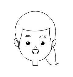 Portrait pretty little girl happy outline vector