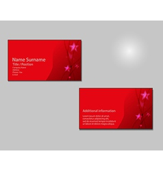 RED Business card layout with red stars on vector image
