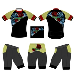 Red rose cycling vest vector