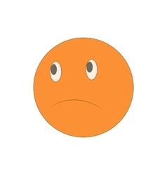 Sad unhappy emoticon icon cartoon style vector image