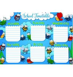 School timetable week schedule cartoon insects vector