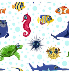 sea animals seamless pattern colorful underwater vector image