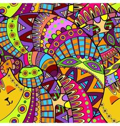 Seamless decorative cat ornamental background vector image