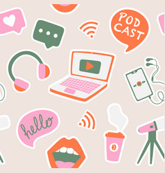 seamless pattern with podcast elements vector image