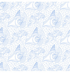 Seamless pattern with seashells algae and bubbles vector