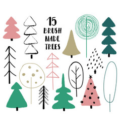 set funny trees vector image