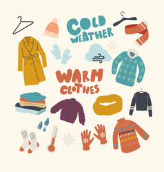 Set icons warm clothing theme knitted hat and vector