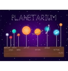 set of solar system planets in line cartoon vector image