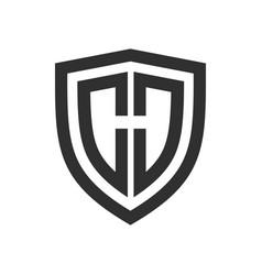 Shield basic outline initial h symbol logo design vector
